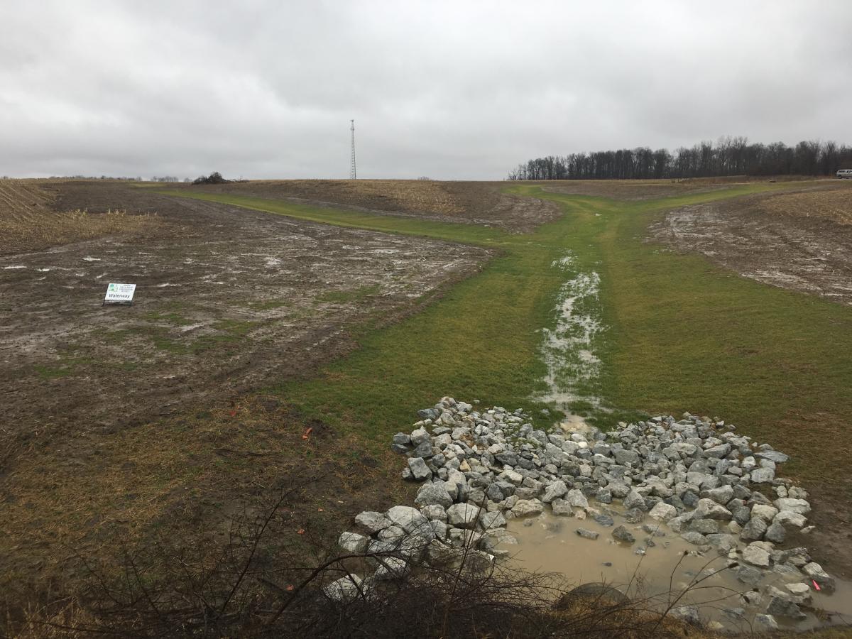 after grassed waterway installation